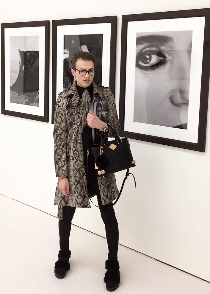 Fashionblogger und It-Boy Chris Hanisch bei der Eröffnung der Peter Lindbergh Ausstellung in München. Bild: Sascha W.